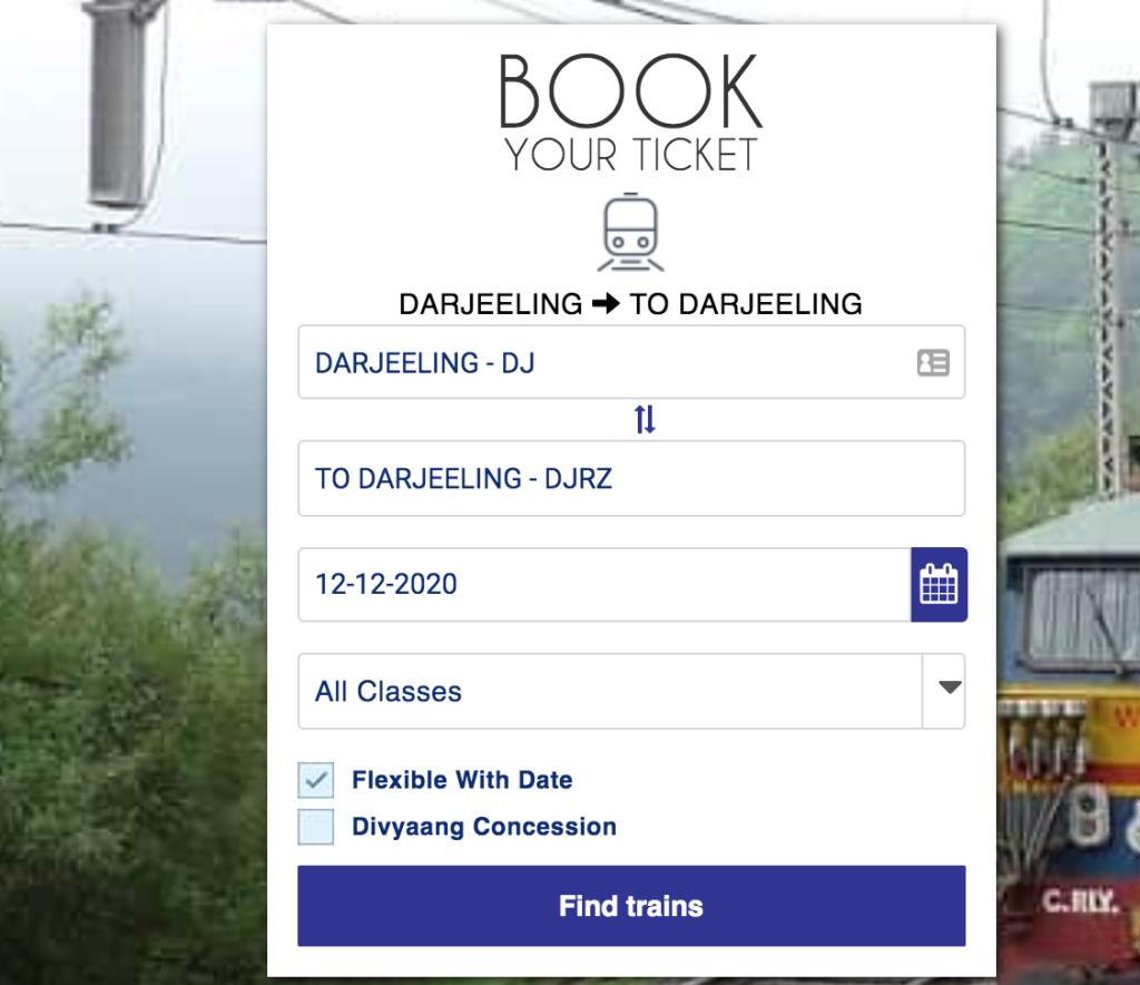darjeeling toy train booking