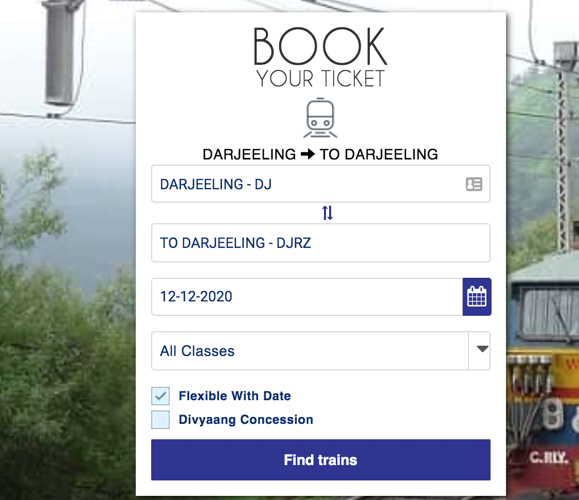darjeeling toy train booking